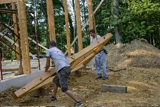 Timber Frame: The hand-hewn timber frame for our house.